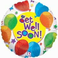 18 inch Helium Filled Foil Balloon > Get Well Soon