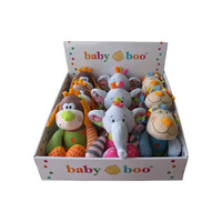 Babyboo soft plush toys specialise in  bright multi colours, with built in rattle. Fully machine washable. 30cm