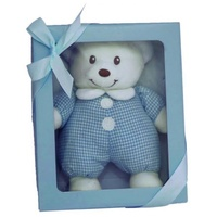Gift Boxed Bear with rattle, Colour - Blue