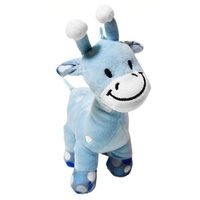 Super Soft Blue Giraffe with Rattle - 18cm, fully machine washable